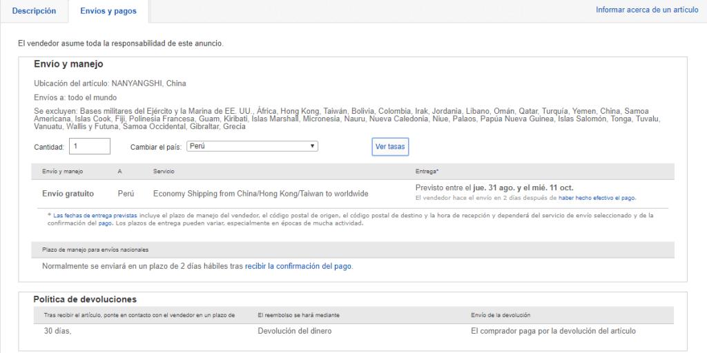 ebay tiene envio gratis a peru